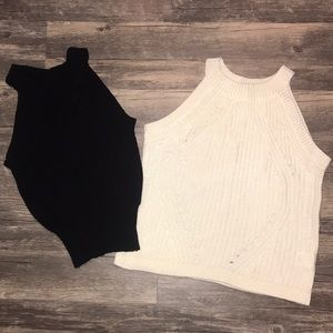 Black and cream sweater tanks